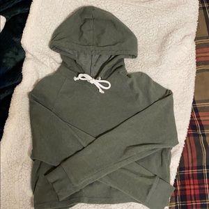 army green crop top hoodie